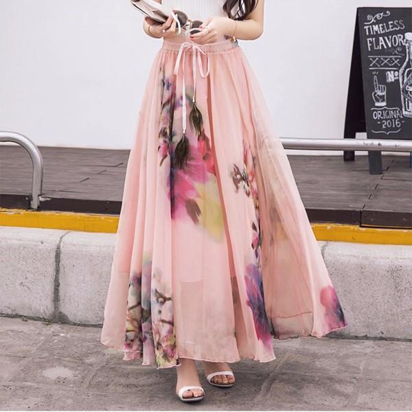 2Wayロングスカート ワンピース 花柄プリント マキシスカート