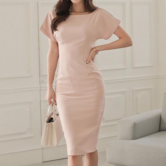 韓国ファッション レディース スリムワンピース ひざ丈 ミディアムワンピース
