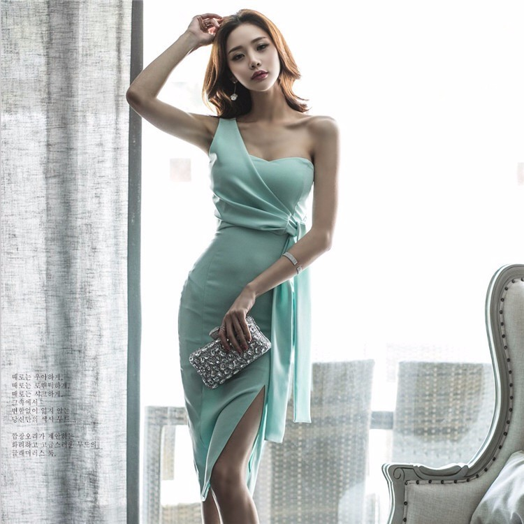2017夏韓国ファッション レディース スリムワンピース ひざ丈 ミディアムワンピース