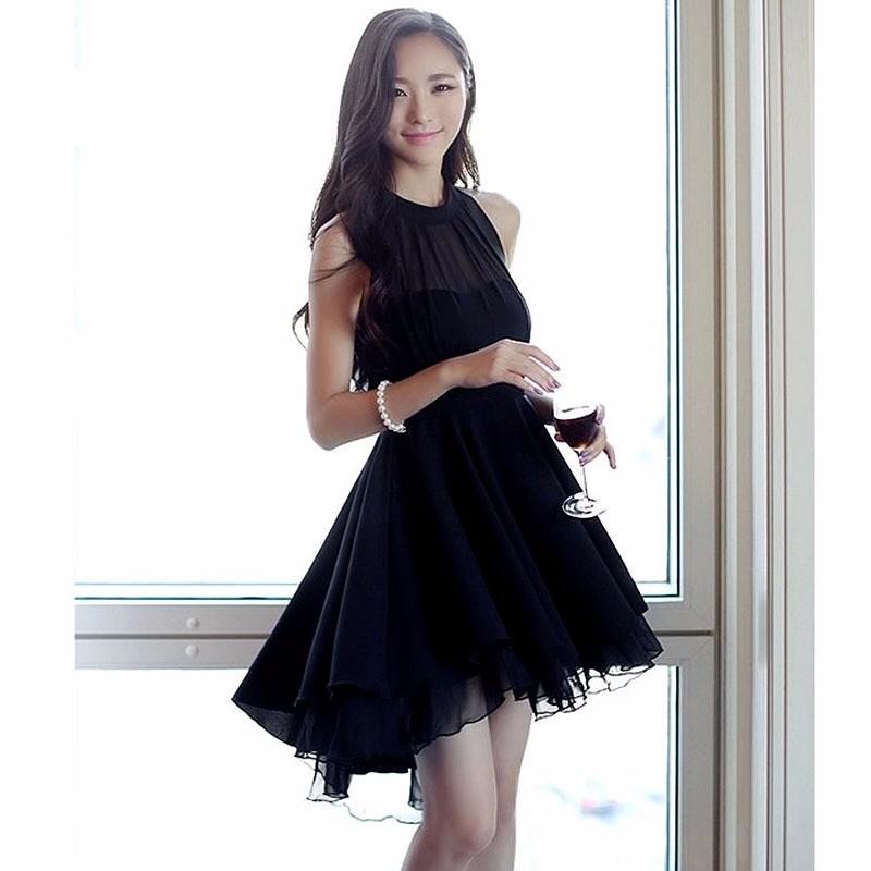 2017夏新韓国の気質小黑裙シフォンのワンピース