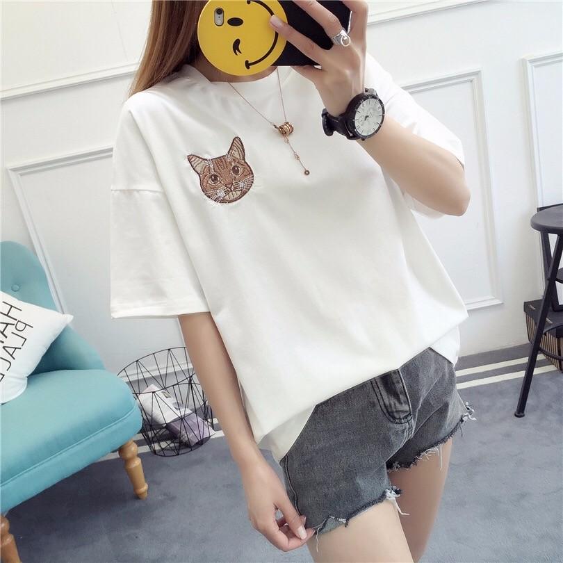 2017夏新作刺繍猫顔Tシャツ