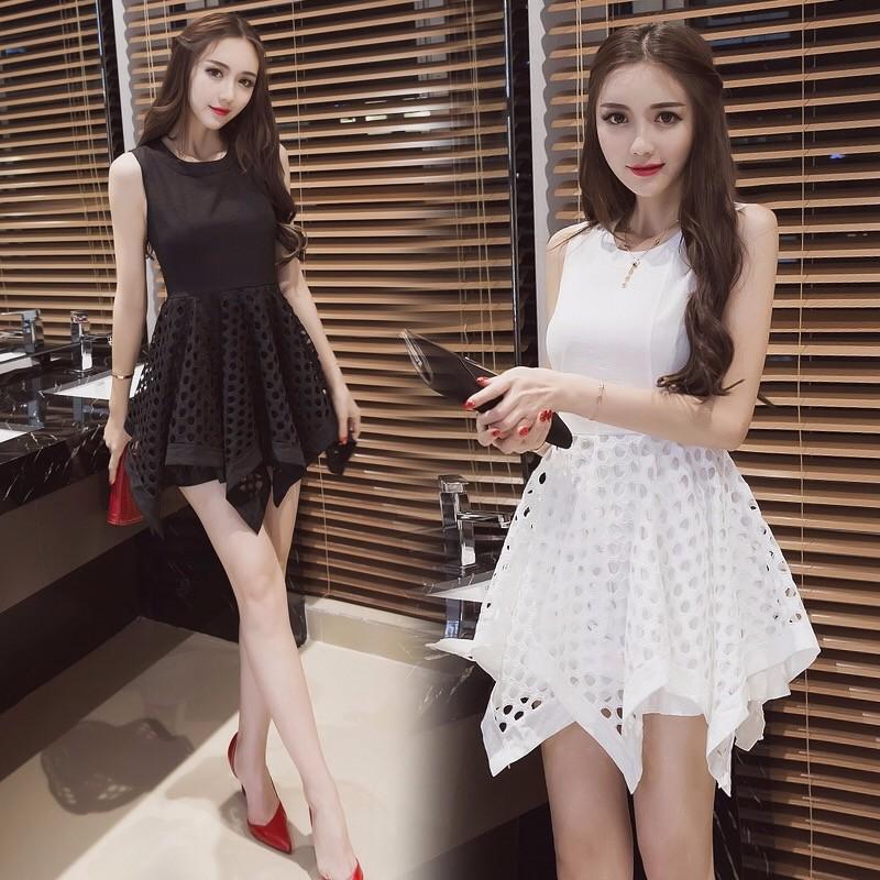 2017夏新韓国の気質不規則小黑裙シフォンのワンピース
