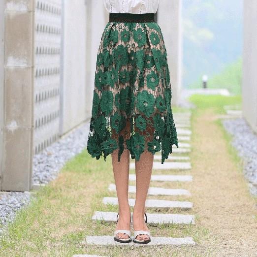 レーススカート ミディアムスカート