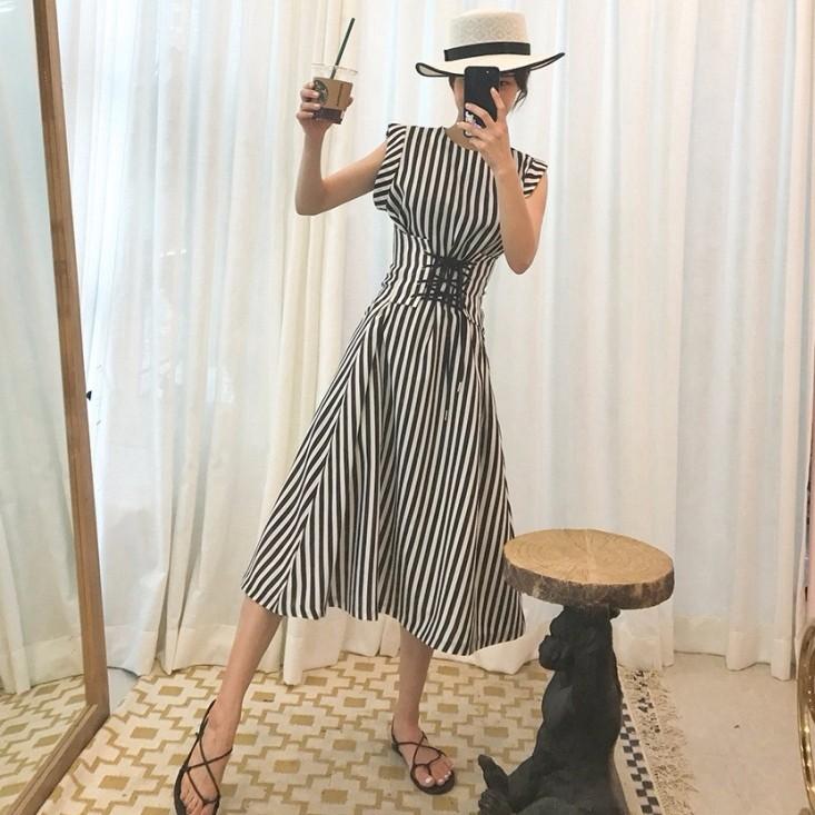ストライブワンピース スリム 韓国ファッション