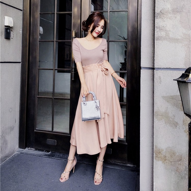 スリムtシャツ+不規則スカート ロングスカート リボン付き 2点セットアップ