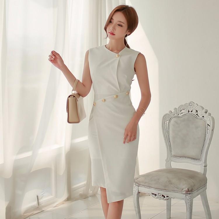韓国ファッション レディース 不規則 エレガント 通勤ワンピース