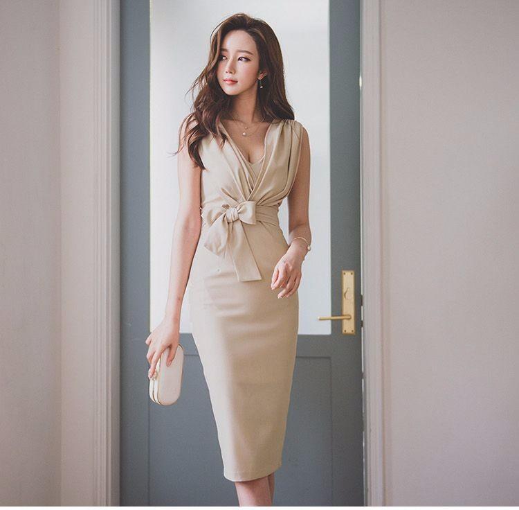 韓国ファッション Vネック ノースリーブ ワンピース OL ロングワンピース ドレス