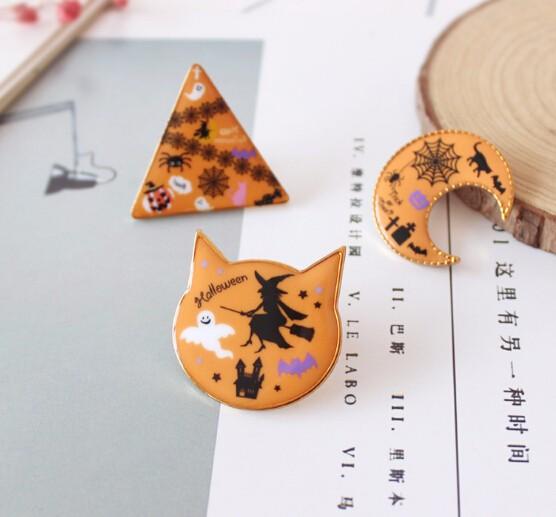 ★ハロウィーン★ブローチ 月 3角 ネコ オレンジ 大きい 目立つ-1