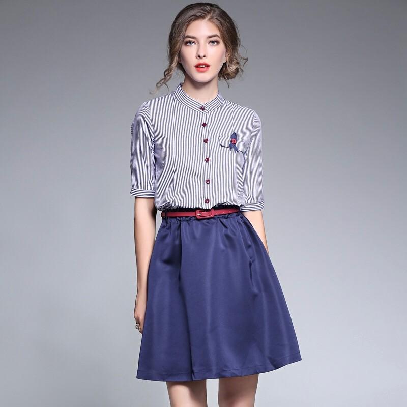 2017夏新作偽二枚ストライプワンピース A字スカート