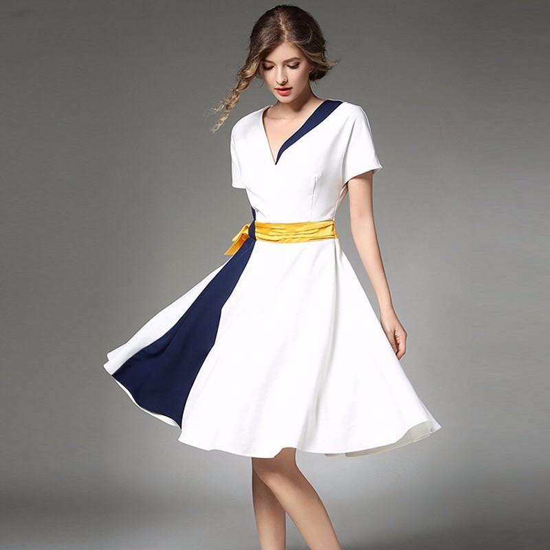 2017夏新作対比色スプライス大トレーンドレススカート