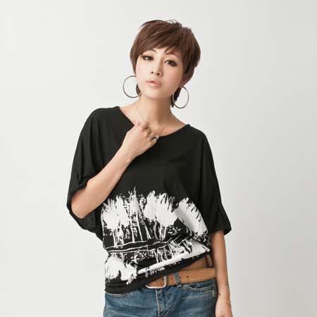 【特価】大きいサイズ 水墨柄ドルマントップス 5分袖 ゆったりTシャツ カジュアル風 夏物 5L L8762