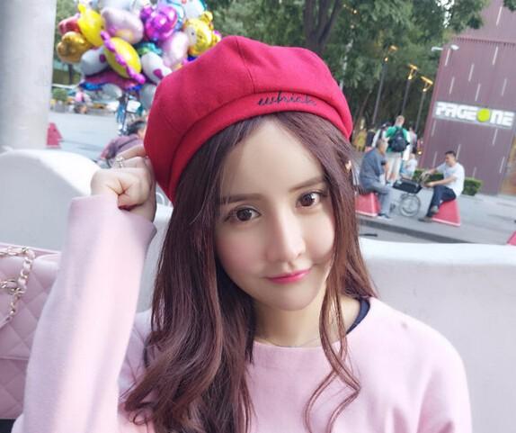 ☆2017AW新作☆ニット帽子 ベレー帽 カボチャ型 防寒 刺繍 5色