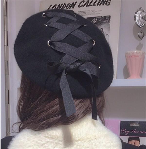 ☆2017AW新作☆ニット帽子 ベレー帽 かわいいリボンデザイン 防寒 2色-1