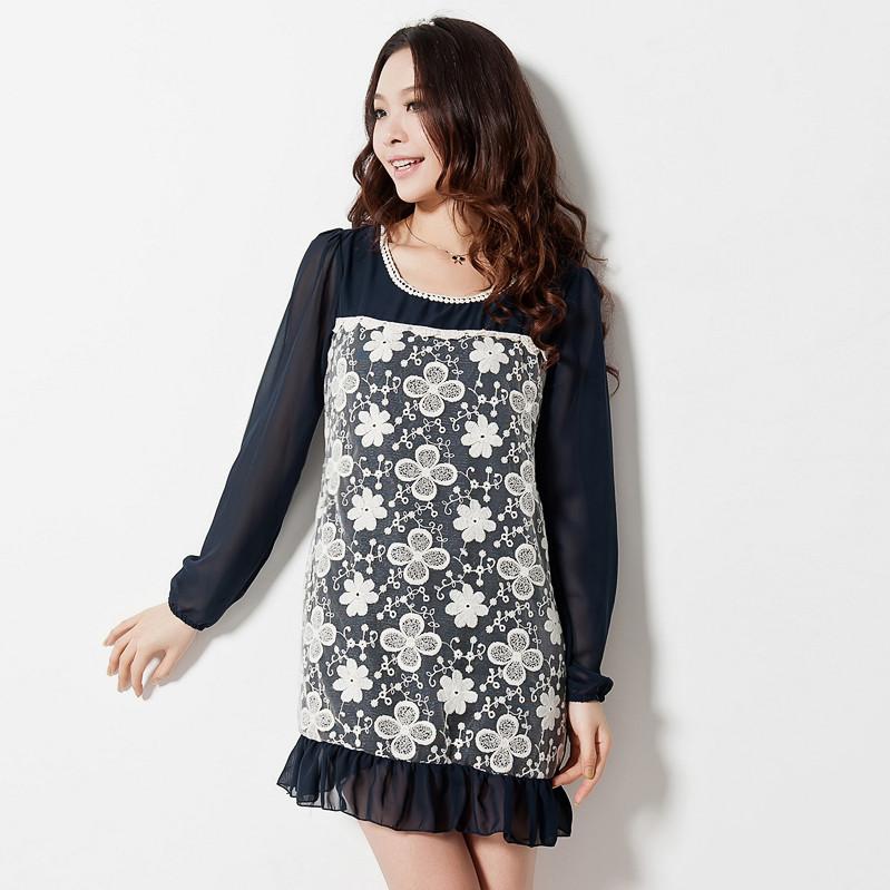 【特価】大きいサイズ Sweetスタイル☆フリル裾のレース切替ワンピース 花柄ワンピース 3L L8356