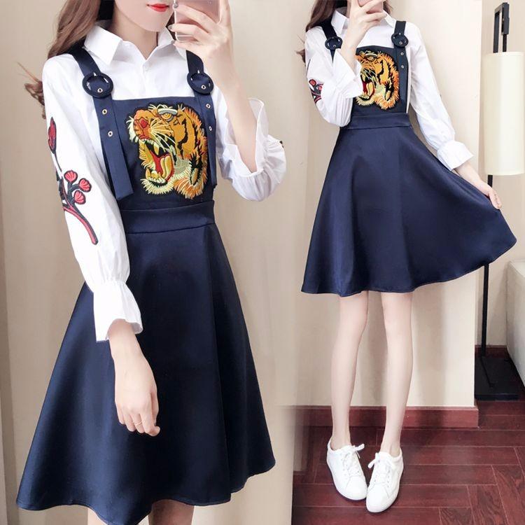 ブラウス+スカートの2枚セットアップ 刺繍 サスペンダースカート