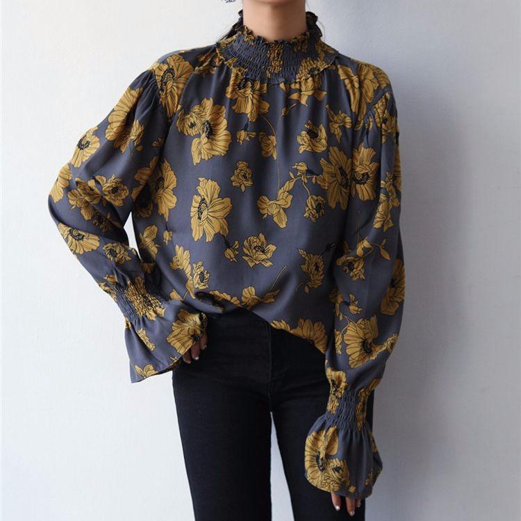 ブラウス ロング袖 フリル プルーオーバートップス フラワープリント ハイネック シャーリング オーバーサイズ 大きいサイズ ボリューム袖 大花柄 エレガント 大人かっこいい