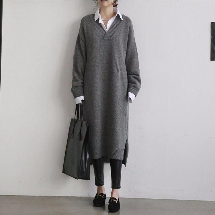 Vネックロングニットワンピース ロングセーター ゆったり 韓国ファッション