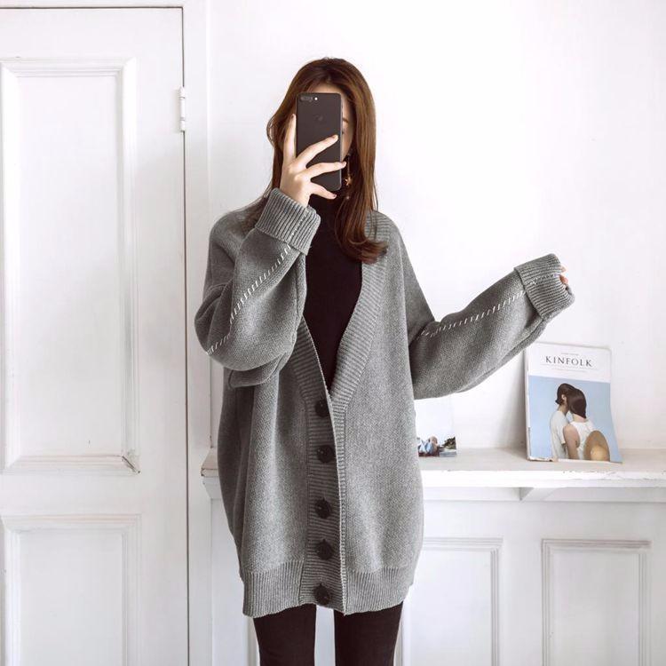韓国ファッション 深Vネックカーディガン ゆったり ニットジャケットアウター