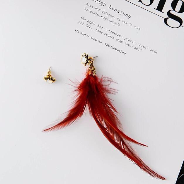 復古 ダイヤモンド 羽毛 耳飾り 非対称 スター耳輪 イヤリング ピアス 女性  ボヘミアスタイル(ワインレッド)
