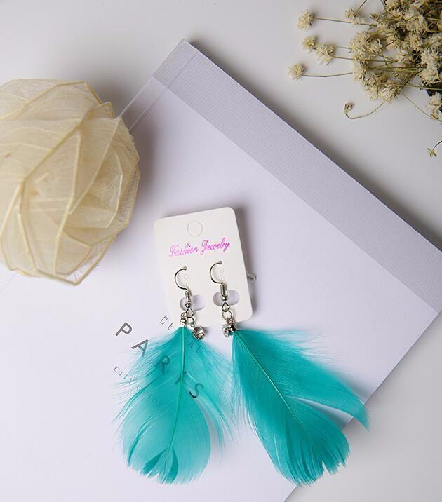 復古 ダイヤモンド 羽毛 耳飾り 対称 イヤリング ピアス シンプル  天然 ボヘミアスタイル(グリーン)