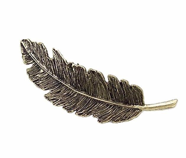 葉っぱ 羽毛型 可愛い髪飾り 髪留め 女性 まとめ髪  バレッタ おしゃれ 2個セット(くろちゃいろ)