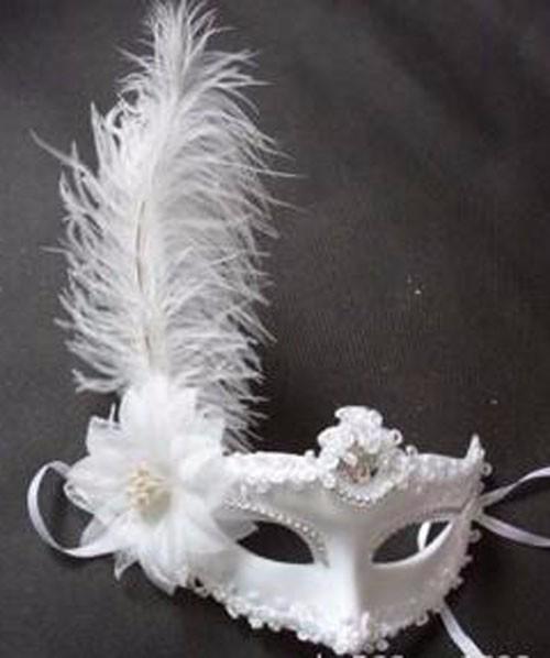 ホワイト レース 花柄 羽毛仮面 ベニス服装仮面 ハロウィーンの仮面  仮面舞踏会