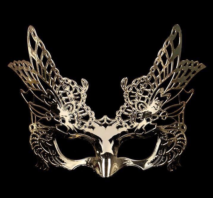 鷹式のマスク 鷹式仮面 ベニス服装仮面 演劇 ハロウィーンの仮面  仮面舞踏会(金色)