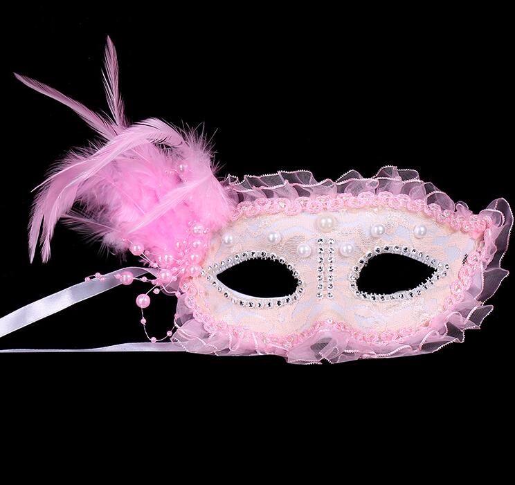 レース 花柄 羽毛仮面 ベニス服装仮面 ハロウィーンの仮面 仮面舞踏会(ピンク)