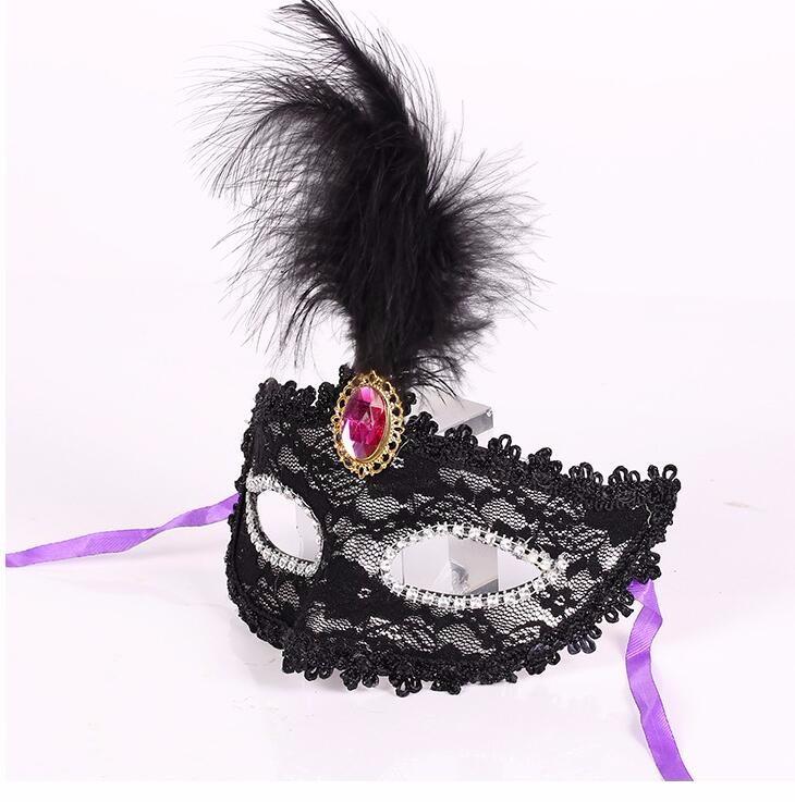 ダイヤモンド レース 花柄 羽毛仮面 ベニス服装仮面 ハロウィーンの仮面  仮面舞踏会(ブラック)