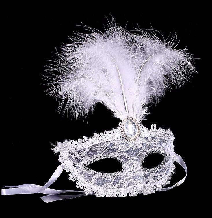 ダイヤモンド レース 花柄 羽毛仮面 ベニス服装仮面 ハロウィーンの仮面  仮面舞踏会(ホワイト)