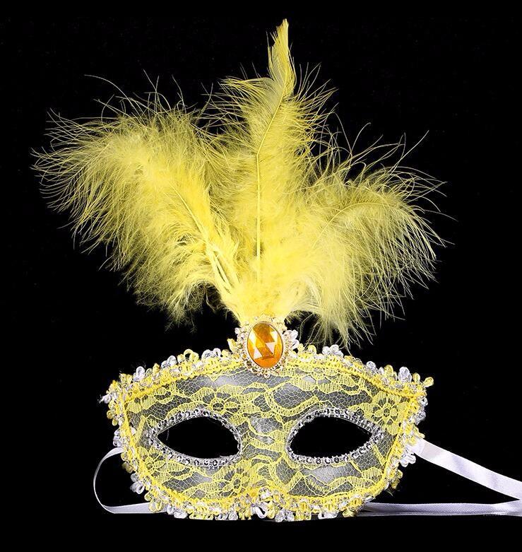 ダイヤモンド レース 花柄 羽毛仮面 ベニス服装仮面 ハロウィーンの仮面  仮面舞踏会(イエロー)