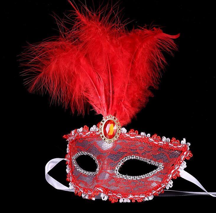 ダイヤモンド レース 花柄 羽毛仮面 ベニス服装仮面 ハロウィーンの仮面  仮面舞踏会(レッド)