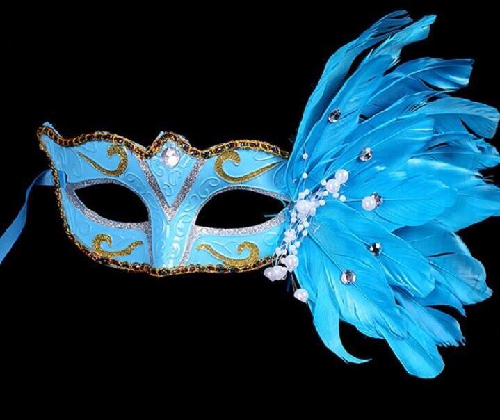 パール レース 花柄 羽毛仮面 ベニス服装仮面 ハロウィーンの仮面  仮面舞踏会(ブルー)