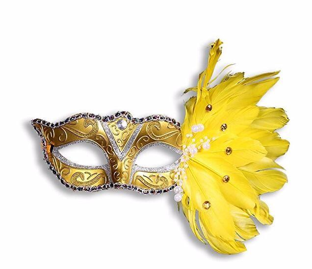 パール レース 花柄 羽毛仮面 ベニス服装仮面 ハロウィーンの仮面  仮面舞踏会(イエロー)