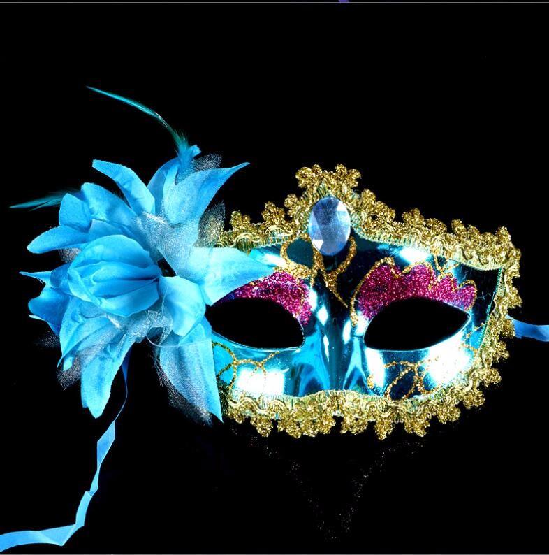 ダイヤモンド レース 花柄 羽毛仮面 ベニス服装仮面 ハロウィーンの仮面  仮面舞踏会(ブルー)