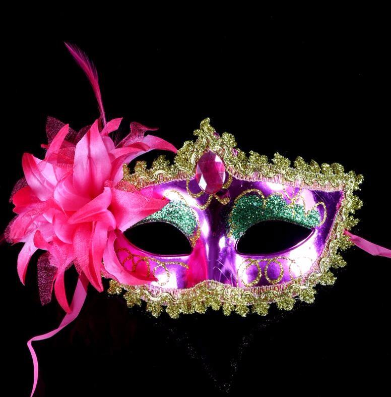 ダイヤモンド レース 花柄 羽毛仮面 ベニス服装仮面 ハロウィーンの仮面  仮面舞踏会(バラ色)
