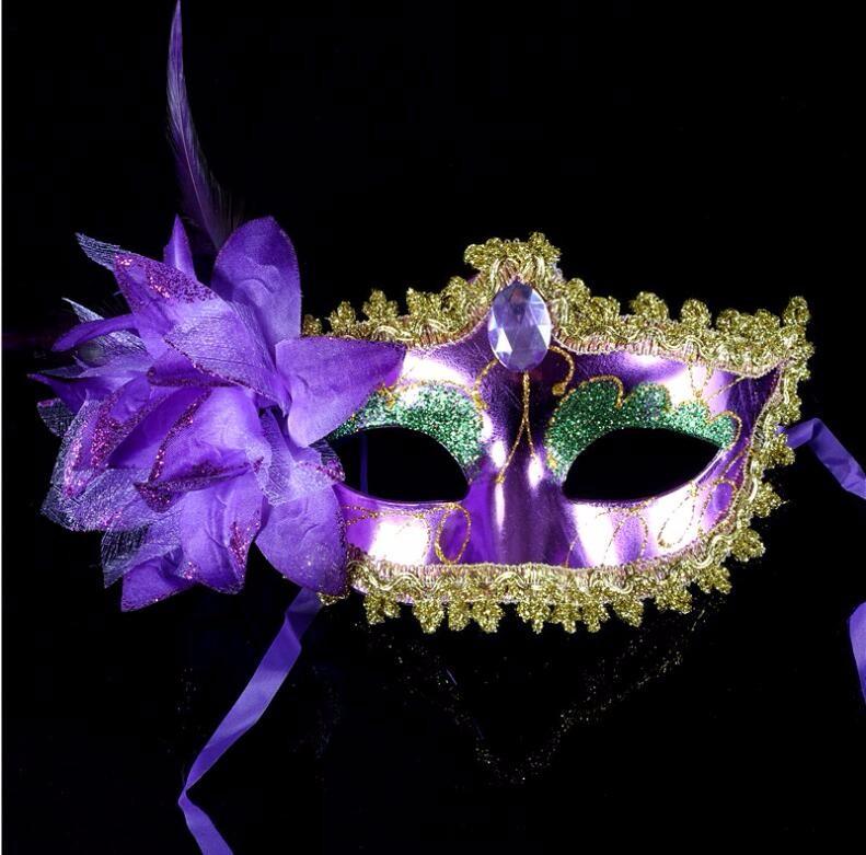 ダイヤモンド レース 花柄 羽毛仮面 ベニス服装仮面 ハロウィーンの仮面  仮面舞踏会(パープル)