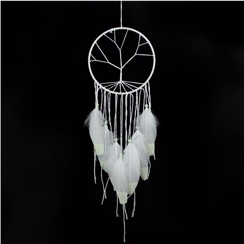 ドリームキャッチャー 夜光捕夢網 羽飾り 部屋飾り 壁飾り 車飾り  捕夢網 風鈴 手作り 装飾品(ホワイト)