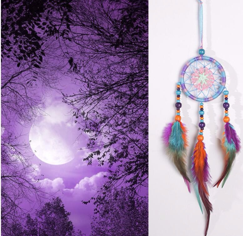カラフル 羽毛 ドリームキャッチャー インド風 部屋飾り 壁飾り 車飾り  捕夢網 風鈴 手作り 装飾品