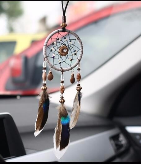 羽毛 ドリームキャッチャー インド風 部屋飾り 壁飾り 車飾り  捕夢網 風鈴 手作り 装飾品(小さい)