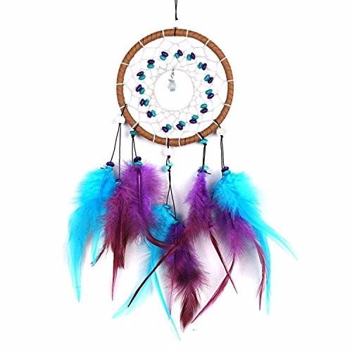 トルコ石 羽毛 ドリームキャッチャー インド風 部屋飾り 壁飾り  車飾り 捕夢網 風鈴 手作り 装飾品