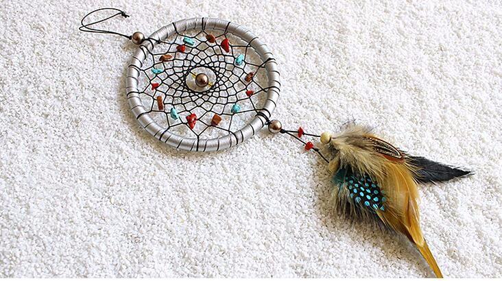 羽毛 ドリームキャッチャー インド風 部屋飾り 壁飾り 車飾り  捕夢網 風鈴 手作り 装飾品(シルバー)