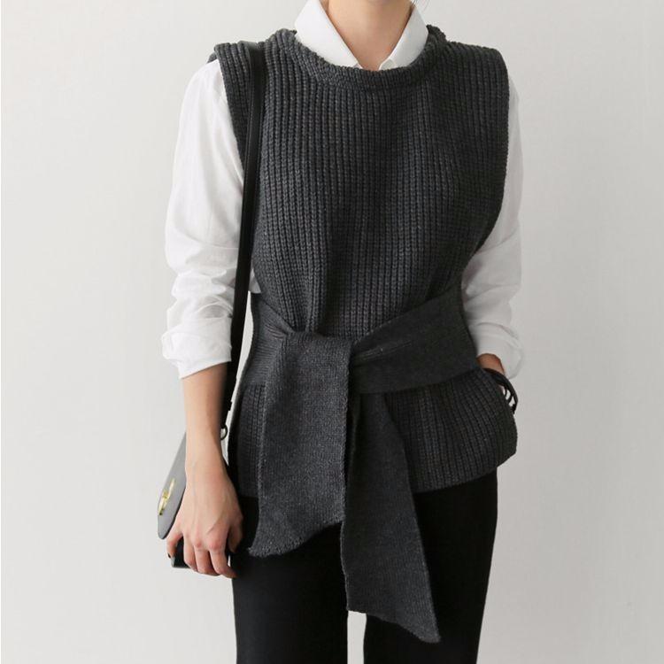 韓国ファッション リボン付き ニットベスト