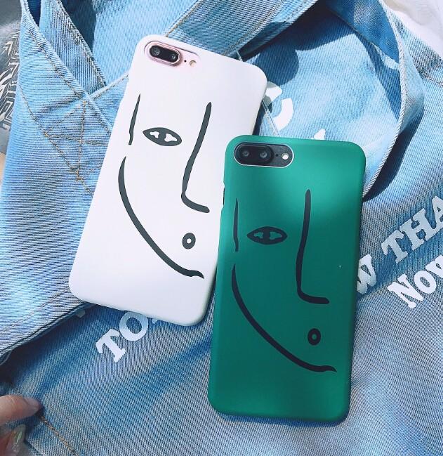 レディースファッション iphone iPhoneX iphone8 カバー アイフォンケース ケースカバー 顔 抽象的-1