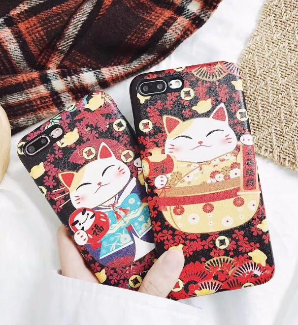 レディースファッション iphone iPhoneX iphone8 カバー アイフォンケース ケースカバー 招き猫