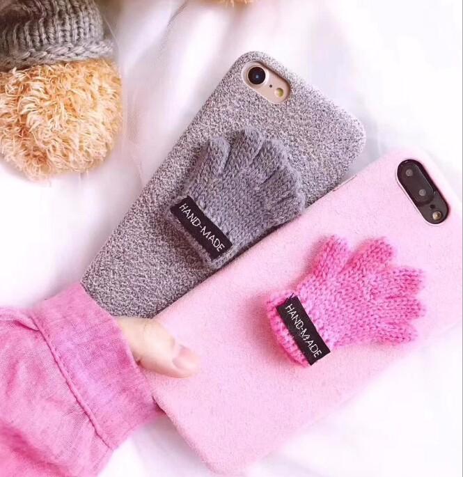 レディースファッション iphone iPhoneX iphone8 カバー アイフォンケース ケースカバー 手袋 手編み風 2色