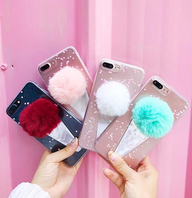 レディースファッション iphone iPhoneX iphone8 カバー アイフォンケース ケースカバー アイスクリーム ポンポン付き