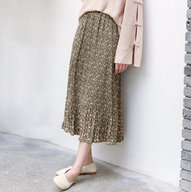 レディースファッション ボトム スカート フレアスカート 花柄 ロングスカート