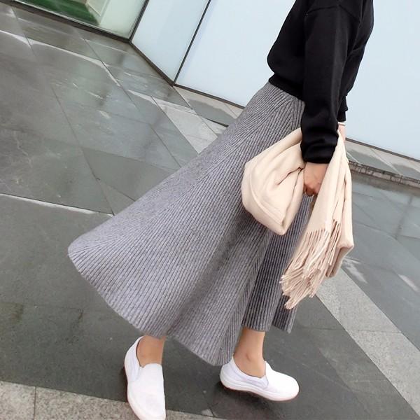 韓国ファッション ハイウエストロングスカート ニットスカート