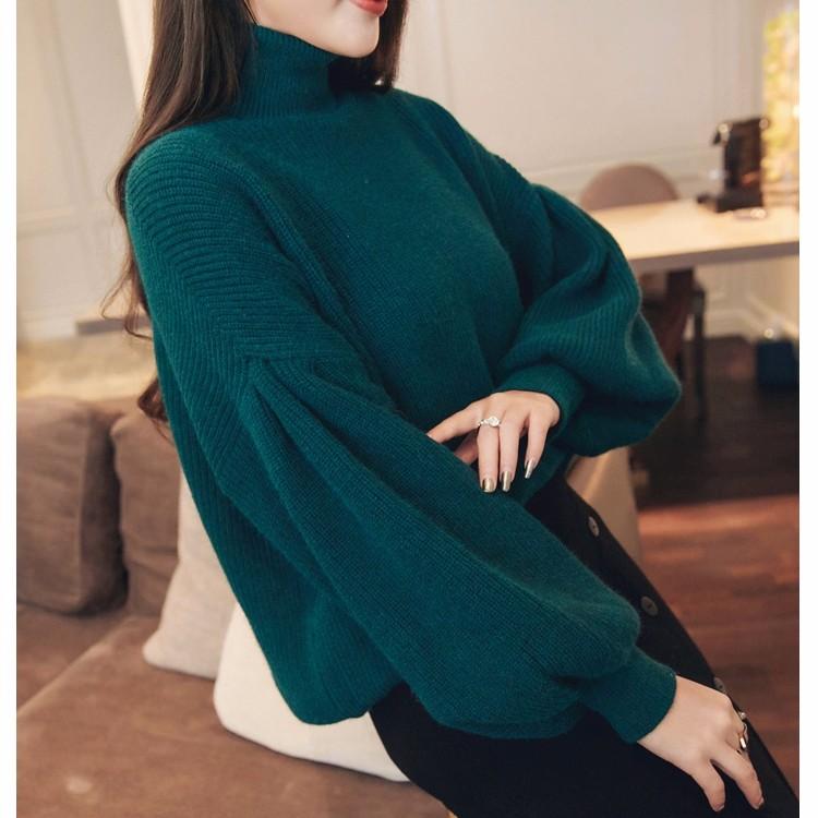 ハイネックセーター ゆったりとしたニットトップス 提灯袖
